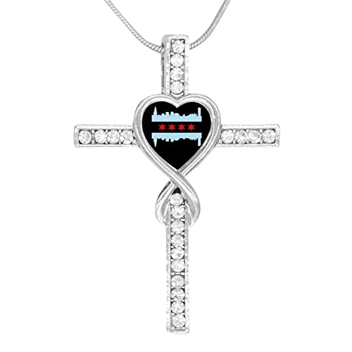 Amazon LUQeo Chicago Flag Skyline Cross Love Heart Infinity God