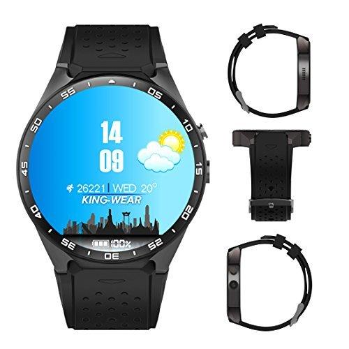 51Wen6q7EgL - Kingwear 3G Smart Watch, Android 5.1 OS, Quad Core 2.0MP Camera Bluetooth Nano SIM Card Soket WiFi GPS Heart Rate Monitor (Black+Silver)