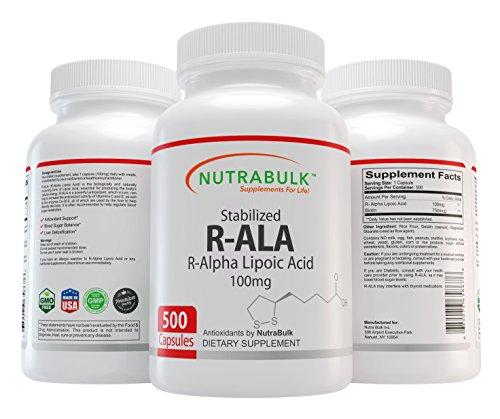 NutraBulk R-ALA (Alpha Lipoic Acid) 100mg Capsules 500 Count by NutraBulk