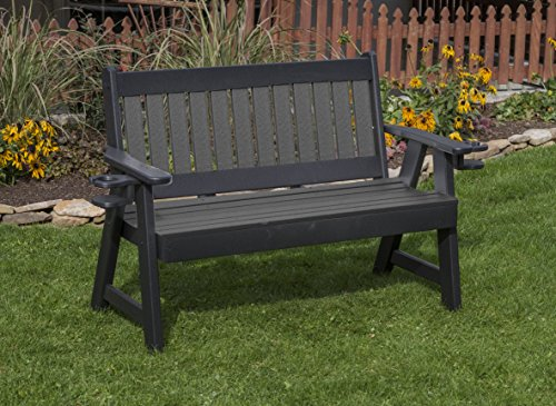 - Ecommersify Inc 4FT-Dark Gray-Poly Lumber Mission Porch Bench with Cupholder arms Heavy Duty Everlasting PolyTuf HDPE - Made in USA - Amish Crafted