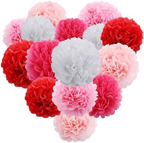 パーティーの結婚式の誕生日の収集のために装飾的な15PCS紙の花のぶら下げポンポンボールの壁(ピンク)