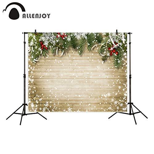 VietNewYear Background - Background for Photo Studio Christmas Wood Bokeh Snow Wreath Backdrop Newborn Photo Prop photocall Printed Professional 1 PCs