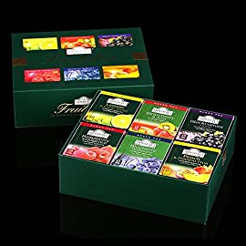 Ahmad Tea Fruitytea Variety Gift Box, 60 Foil Enveloped Teabags 8 A spectrum of popular fruit flavor's in green and black teas Great gift idea Ahmad Tea is a member of the United Kingdom Tea Council