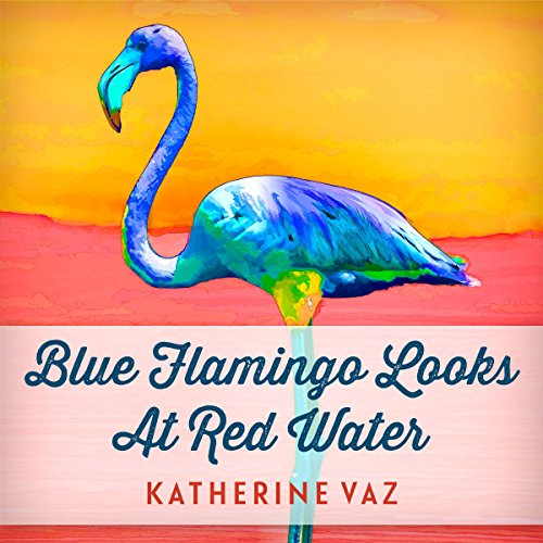 Blue Flamingo Looks at Red Water