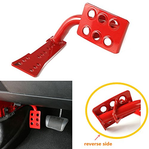 Bestong Metal Dead Pedal Left Side Foot Rest Kick Panel for Jeep Wrangler JK JKU Unlimited 2007-2016 (Red)