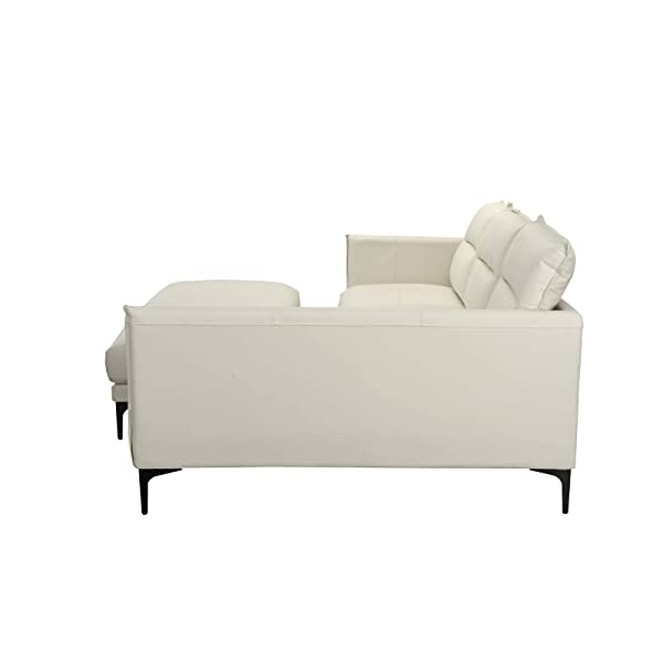 Mid Century Leather Sectional Sofa, L-Shape Couch with Rectangular Ottoman (White)