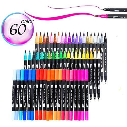 60 Colors Dual Tip Brush Pens Art Markers with Fine Liner Brush Tip 0.4mm Double Colored Pens Set for Adult Coloring Books Bullet Journal Note Taking Drawing Planner