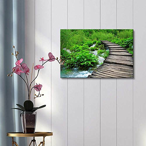Wooden Path and Waterfall in Croatia Home Deoration Wall Decor