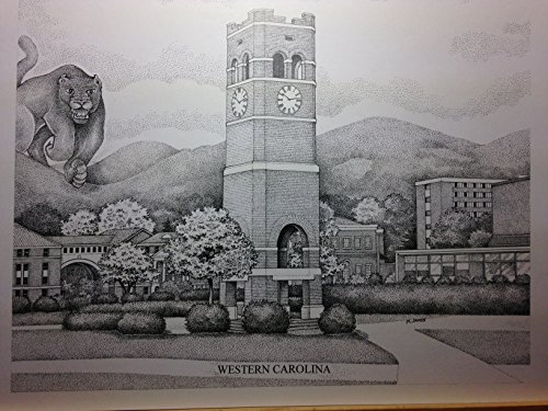 Western Carolina - Bell Tower 11''x14'' pen and ink print by Campus Scenes