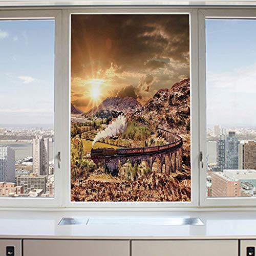(3D Decorative Privacy Window Films,Wizard School Express Famous Train Landscape Glenfinnan Railway Viaduct Scotland Sunset,No-Glue Self Static Cling Glass film for Home Bedroom Bathroom Kitchen Office)