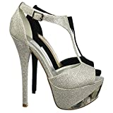 zapatos d mujer altos - Aquapillar Super Tall High Heel, Metal Plate T-Strap Platform Dress Sandal Party Shoe