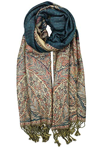 - Achillea Luxurious Big Paisley Jacquard Layered Woven Pashmina Shawl Wrap Scarf Stole (Teal)