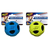 Nerf Dog Small Rubber Wrapped Bash Tennis Ball Green & Blue Dog Toy (2 Pack)