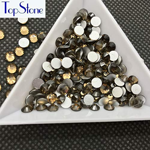 (Pukido Lt C Topaz Color Non Hotfix Rhinestones ss3-ss34 Round Flat Back Glue On Nail Art 3D Glass Crystals - (Color: 10ss)