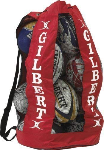 Gilbert Rugby Breathable Ball Bags Holdall Mesh Shoulder Strap 12 Balls Holder Bag Breathable Ball Blk (12)