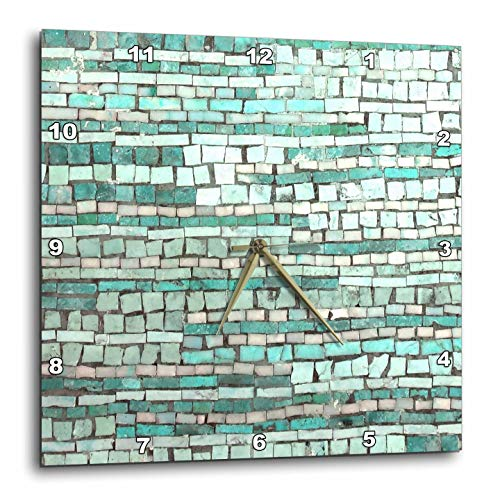 3dRose InspirationzStore - Tile Graphics - Image of Striped Aqua Turquoise Mint Mosaic Squares in Stripe Pattern - 13x13 Wall Clock (DPP_317213_2)