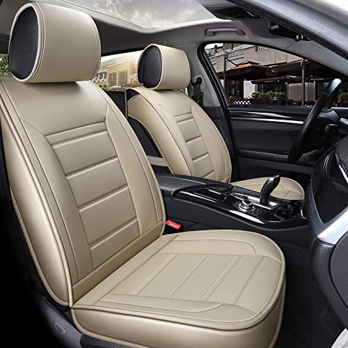 INCH EMPIRE Car Seat Cover Full Set Waterproof PU Leather Cushions Universal Fit Simple Style Front and Rear-Adjustable Length(Double Line Pure Beige)