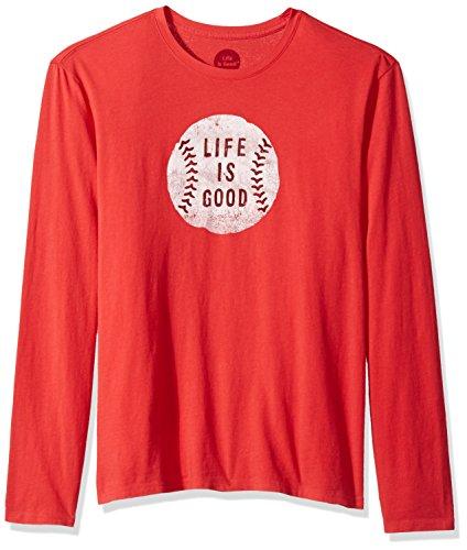 Life is Good Long Sleeve Smooth Tee Vintage Baseball, Americana Red, Medium Life Is Good Baseball T-shirt