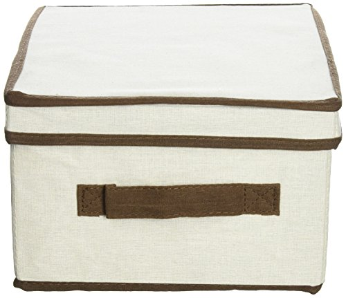Household Essentials 513 Storage Box with Lid and Handle - Natural Beige Canvas with Brown Trim - Large