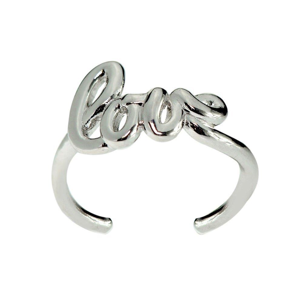 Hoops & Loops Sterling Silver Polished Love Toe Ring