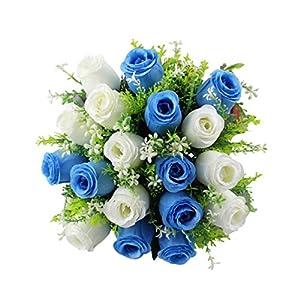 YJYdada 18Head Artificial Silk Roses Flowers Bridal Bouquet Rose Home Wedding Decor (A) 2