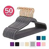 MIZGI Premium Velvet Hangers (Pack of 50) Heavyduty - Non Slip - Velvet Suit Hangers Gray - Copper/Rose Gold Hooks,Space Saving Clothes Hangers (Grey)
