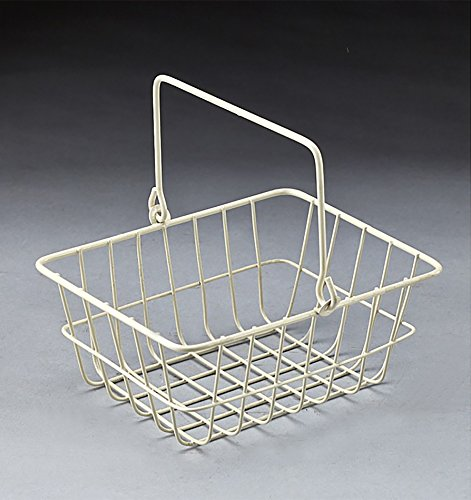 White wire metal rectanguler basket with drop handle (Wire Gift Basket)