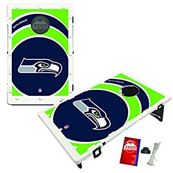 Image of Baggo Portable All-Weather Cornhole Boards Game Set, NFL Vortex with Matching Corn-Filled Bags