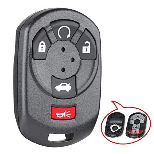 Beefunny Replacement Remote Start Keyless Entry Car Key Shell Case Housing Fob 4+1 Button for Cadillac STS 2005-2007 - M3N65981403 (1)