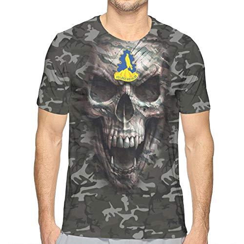 Army 157th Infantry Brigade Unit Crest Army Camo Skull Men's Short-Sleeve Crewneck T-Shirt