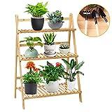 Seeutek Flower Stand Rack Shelf, 3-Tier Foldable Bamboo Ladder Shelf Multifunctional Plant Stand with Pot Shelf Stand Display Rack for Indoor Outdoor Garden Greenhouse, 27.5' x 16' x 38'