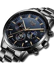 LIGE Uhr Herren Beiläufig Sports Edelstahl Wasserdicht Quartz Uhr mit Chronograph Kalender Datum Schwarz Armbanduhren
