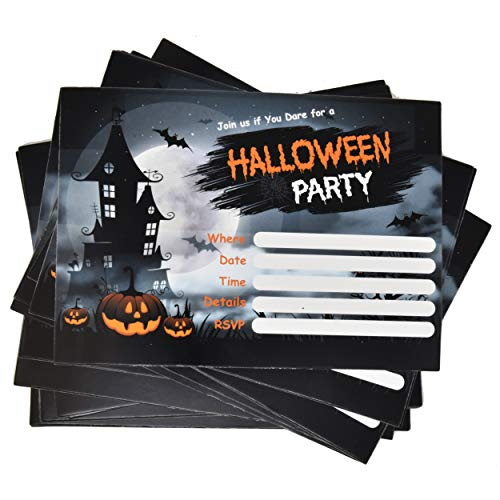 Cheap Party Invitations (36 Halloween Party Invitations with Envelopes 5 x 7 Inches for Birthday Card Invite Invitation and Envelope for Kids Adult Scary Haunted House Pumpkin Theme Black and Orange Spooky Themed)