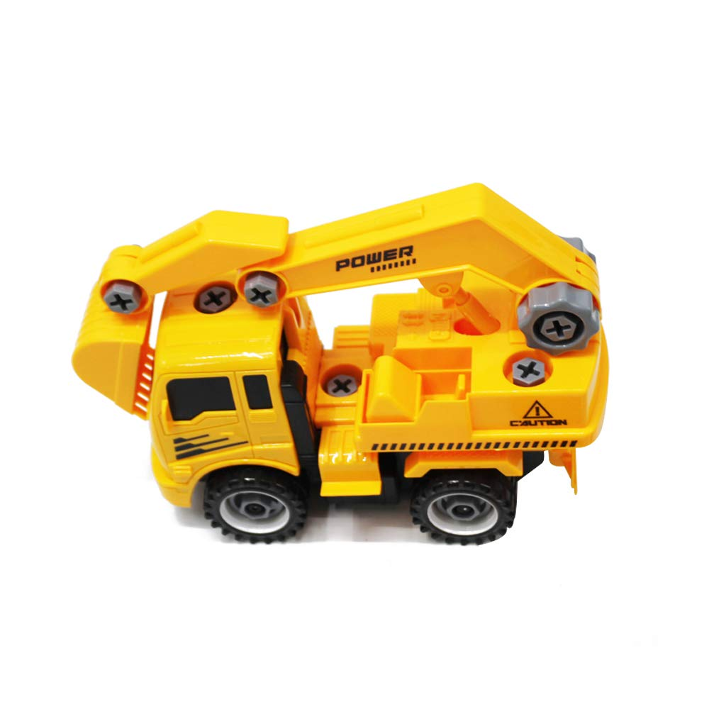 YH559-9A Mixers,Excavators and Crane Truck Toys Yellow FUNFINDING Kids Vehicles Set Car Toy Truck Transport Car Carrier Toy for Boys and Girls,Engineering Vehicles Children Dumpers