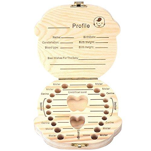 Mogoko baby Kinder Original Holz Haar Milchzahndose Milchzähne Zähne box Kasten mit Englisch Version Souvenir Aufbewahrungsbox (Jungen)