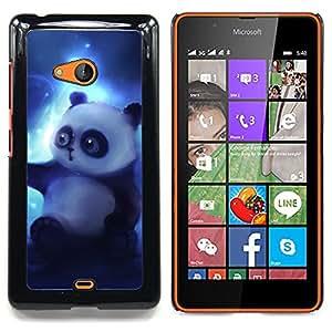 "Qstar Arte & diseño plástico duro Fundas Cover Cubre Hard Case Cover para Nokia Lumia 540 (Oso de panda del dibujo del arte Magic Blue Light"")"