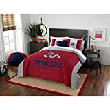 3pc NCAA Fresno State Bulldogs Comforter Full Queen Set, Team Spirit, Team Logo, Unisex, Red, Fan Merchandise, College Football Themed, Sports Patterned Bedding