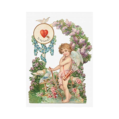 HUVATT Cupid Angel Love Wedding Polyester Garden Flag Outdoor Banner 28 x 40 inch, Valentine's Day Decorative Large House Flags for Party Yard Home Decor