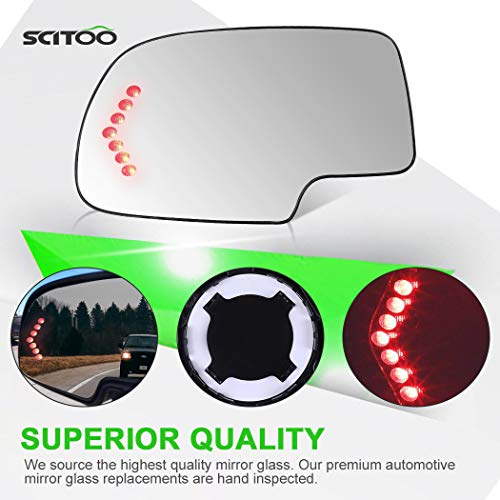 SCITOO Compatible fit for Exterior Mirror Replacement Glasses Driver Left Side Power Heated Signal 2003-2007 Chevrolet Silverado Suburban GMC Sierra Yukon Replacement Tow Mirror