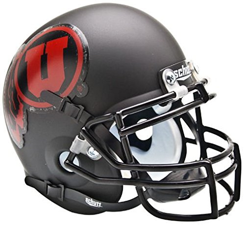 Schutt NCAA Utah Utes Collectible Alt 1 Mini Helmet, Matte Black/Red