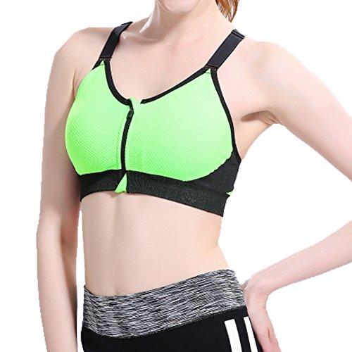 laixing Mujer Fitness de Yoga Stretch Entrenamiento Camiseta De Tirantes No Llantas espalda cruzada sujetador deportivo Verde
