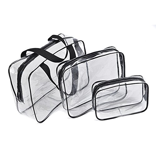 BCP 3 Piece Clear PVC Waterproof Travel Toiletry Organizer Storage Bag Set With Zipper Closure Gym Tote Bag Cosmetic Bag Set