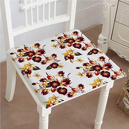 Mikihome Chair Pad Soft Seat Cushion Seamless Wallpaper with Ative Design Print Yellow Burgundy Expandable Polyethylene Stuffed Machine Washable 28