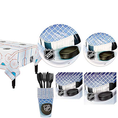 Party City NHL Hockey Party Kit for 8 Guests, Includes Table Cover, Plates, Napkins and More -