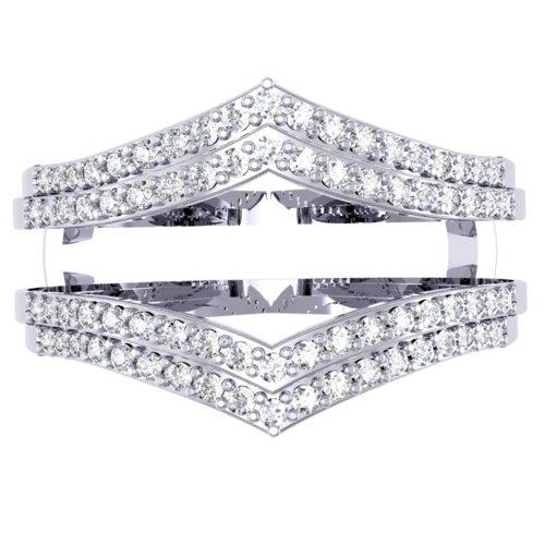 Dazzlingrock Collection 0.50 Carat (ctw) 14K Round Diamond Ladies Anniversary Wedding Band Enhancer Guard Double Ring 1/2 CT, White Gold, Size 6