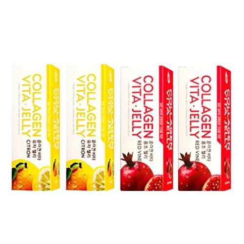 Collagen Vita Jelly 1 Month - Low Molecular Collagen Peptides Vitamin C Supplements (Pomegranate Red Vinegar + Citron) 14000mg x 4 Pack (R2C2)