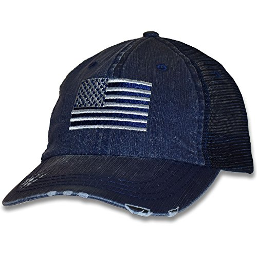 American Flag Cap - Navy Blue - Flag Patriotic Decal
