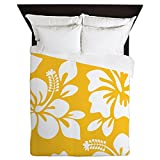 CafePress - Yellow Hawaiian Hibiscus - Queen Duvet Cover, Printed Comforter Cover, Unique Bedding, Microfiber