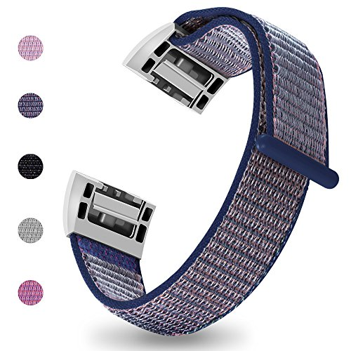 iGK Nylon Replacement Bands Compatible for Fitbit Charge 2, Premium Woven Nylon Adjustable Replacement Bands Breathable Sport Strap with Metal Connector Navy Small