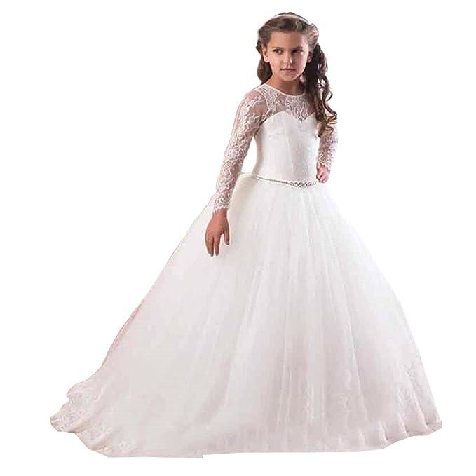 KekeHouse® Vestido de bola Manga larga Cordón Tul Vestido de niña de flores Vestido de